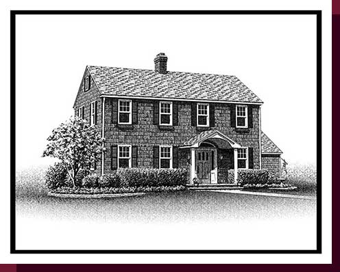 Home Portraits: Pen and Ink House Portraits, Renderings & Illustrations - Babylon Cedar Shingle Colonial Pen & Ink House Portrait
