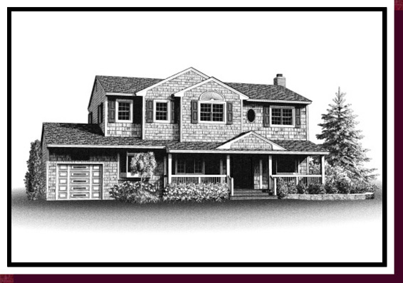 Home Portraits: Pen and Ink House Portraits, Renderings & Illustrations - Cedar Shingle Colonial Pen & Ink House Portrait