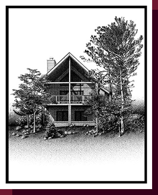 Home Portraits: Pen and Ink House Portraits, Renderings & Illustrations - Arizona Mountain House Pen & Ink House Portrait