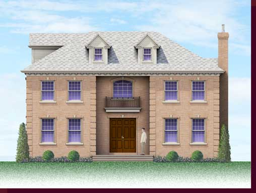 Architectural Rendering & 3D Computer Modeling - Colored Elevation - Flower Hill Custom Home - East Elevation