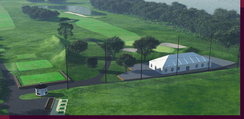 3d Rendering and modeling of Golf Courses - Marine Park Golf Course - New Tenth Green and Hospitality Tent - View-B