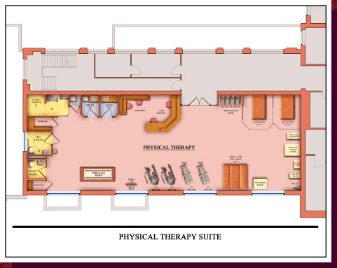 Architectural Rendering & 3D Computer Modeling - Colored Floor Plans - Proposed Rehabilitation Suite: Physical Therapy Close-Up View - Click on Image to View Detail