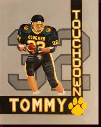 Sports Art Football Art Paintings - Commack Cougars Artwork, Commack Cougars Football Paintings - Touchdown Tommy
