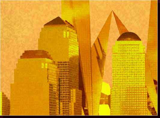 Cityscape Paintings - NYC Cityscape Paintings, NYC Skyline Paintings - New World Trade Center - Twin Freedom Tower Paintings - Lower Manhattan & Twin Freedom Towers Painting at Sunset - Sentinels of Liberty Close-Up View - Click on Image to Return to Full View