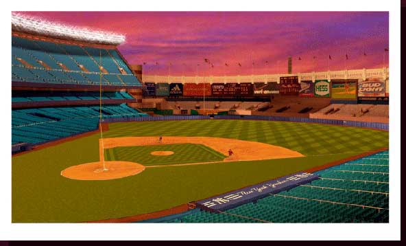 Sports Art Baseball Art Baseball Stadium Paintings - Yankee Stadium Paintings, New York Yankees Artwork, NY Yankees Paintings - Yankee Stadium at Night - Evening Catch - Click on Image to View Close-up